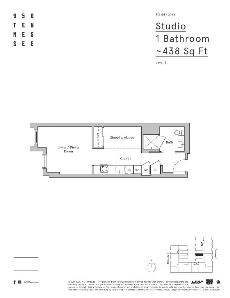 950 Tennessee studio floor plan
